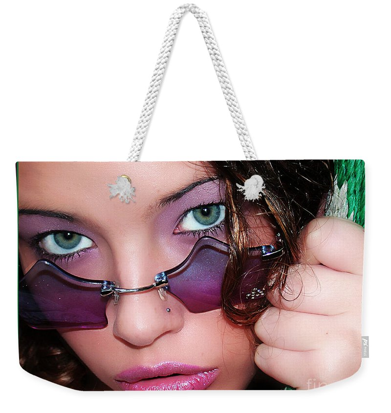 Clay Weekender Tote Bag featuring the photograph Green Eye'd Girl by Clayton Bruster