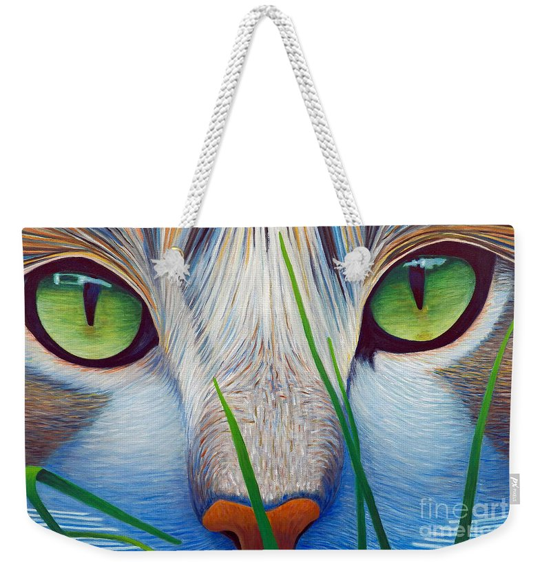 Cat Weekender Tote Bag featuring the painting Green Eyes by Brian Commerford