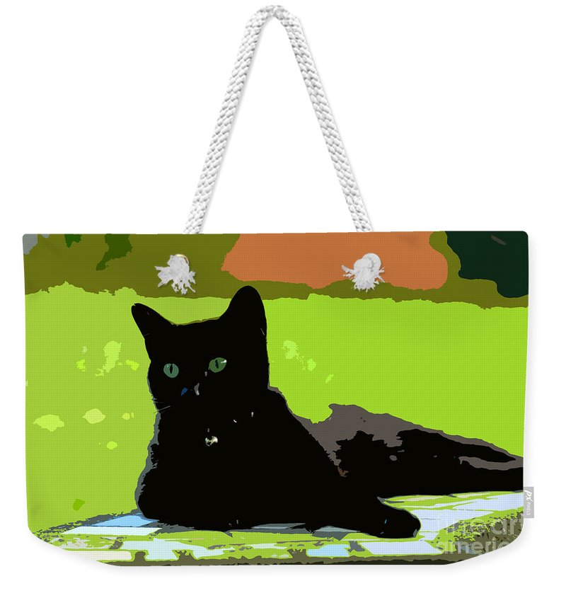 Cat Weekender Tote Bag featuring the painting Green Eyes by David Lee Thompson