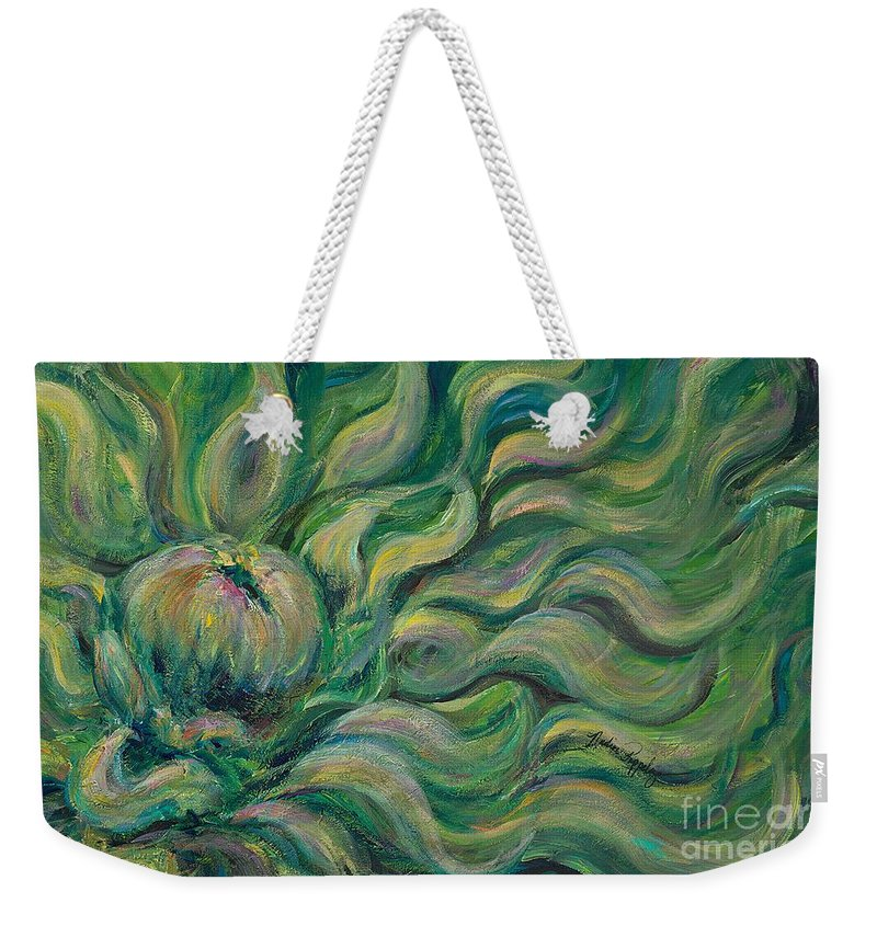 Green Weekender Tote Bag featuring the painting Green Flowing Flower by Nadine Rippelmeyer