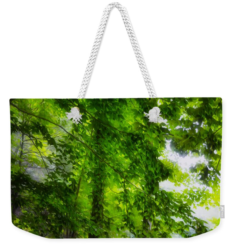 Green Forest Trees Weekender Tote Bag featuring the painting Green Forest Trees 1 by Jeelan Clark