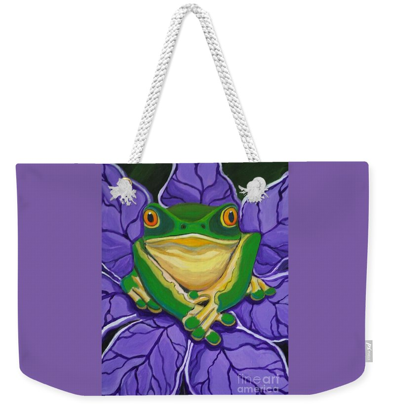 Frog Painting Weekender Tote Bag featuring the painting Green Frog by Nick Gustafson