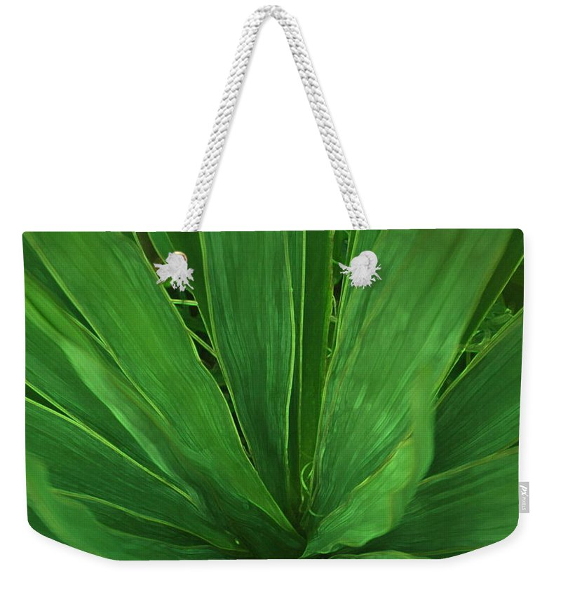 Green Plant Weekender Tote Bag featuring the photograph Green Glow by Linda Sannuti