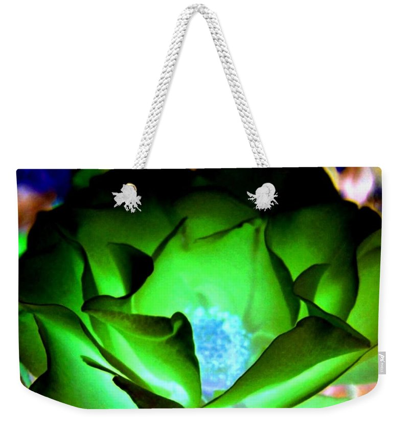 Rose Weekender Tote Bag featuring the digital art Green Glow by Will Borden