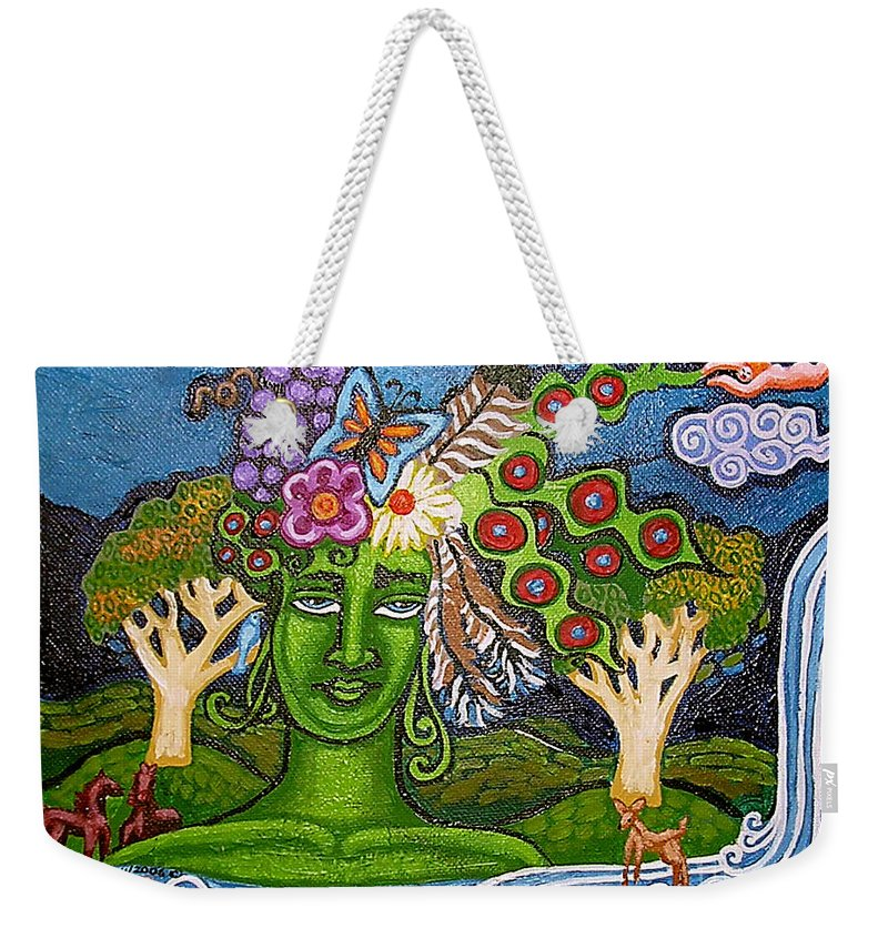 Green Goddess Weekender Tote Bag featuring the painting Green Goddesswith Waterfall2 by Genevieve Esson