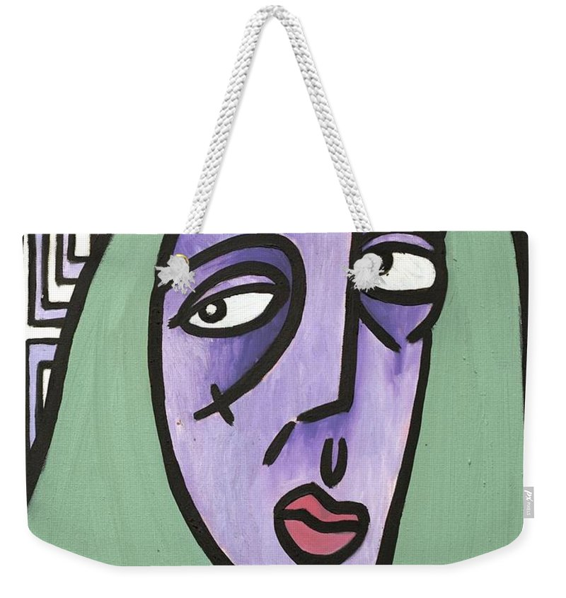 Clay Weekender Tote Bag featuring the painting Green Hair by Thomas Valentine