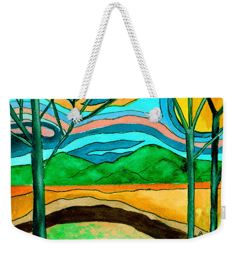 Watercolor Weekender Tote Bag featuring the painting Green Hill Country by Brenda Owen