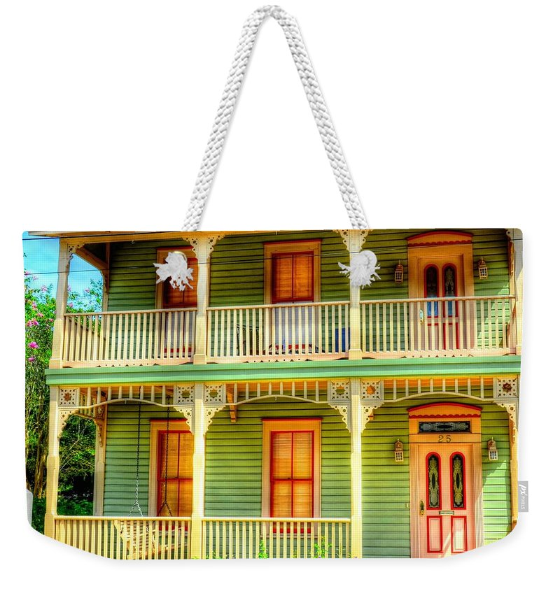 House Weekender Tote Bag featuring the photograph Green House by Debbi Granruth