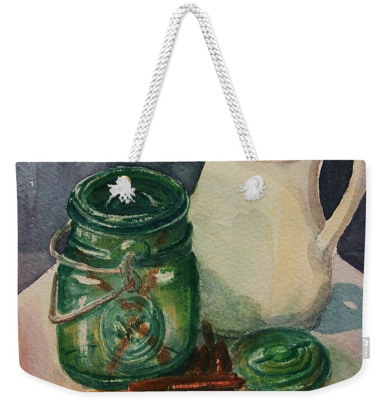 Still Life Weekender Tote Bag featuring the painting Green Jar by Marilyn Smith