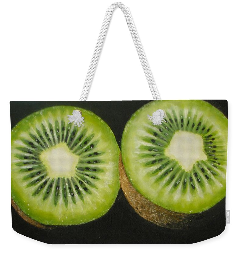 Abstract Weekender Tote Bag featuring the painting Green kiwi oil painting by Natalja Picugina