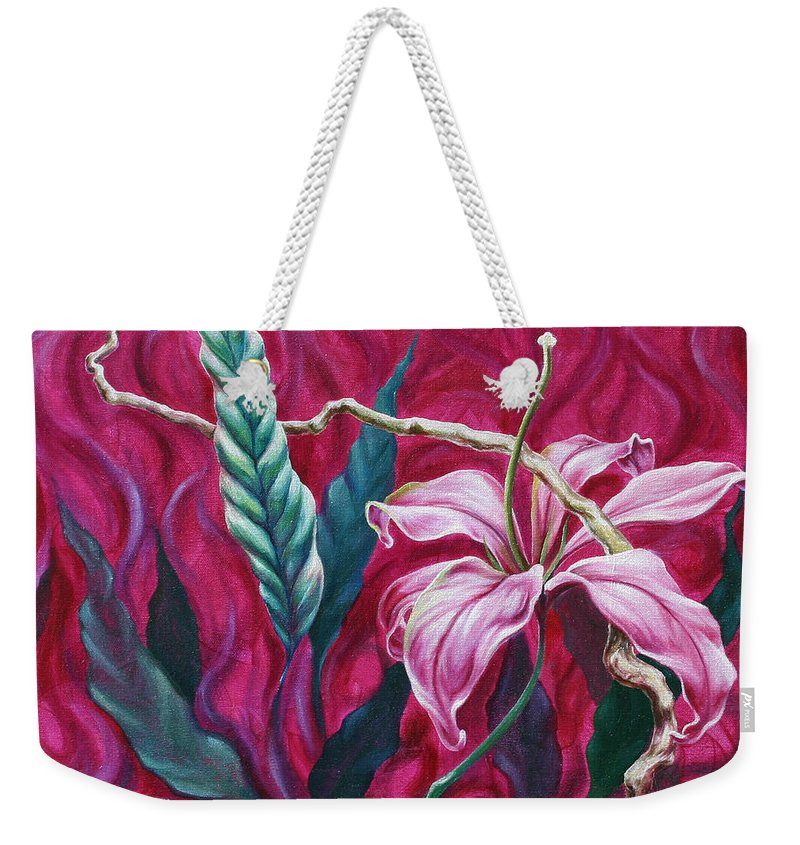 Weekender Tote Bag featuring the painting Green Leaf by Jennifer McDuffie
