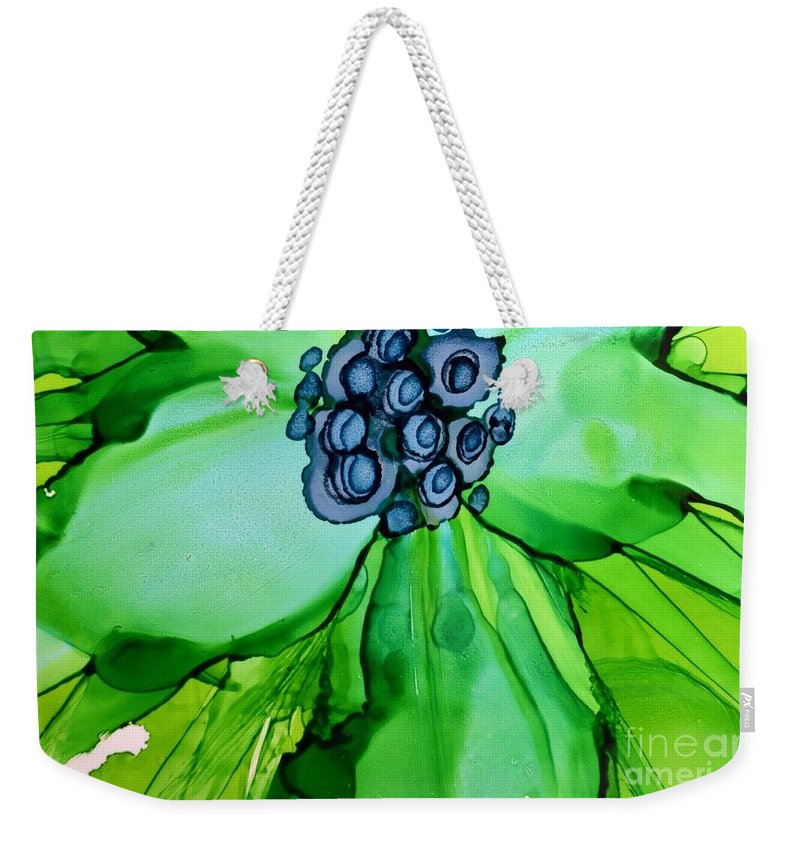 Floral Weekender Tote Bag featuring the painting Green Macro Floral by Beth Kluth