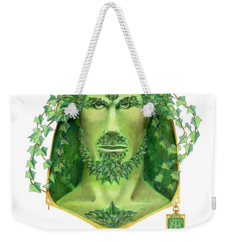 Green Man Weekender Tote Bag featuring the painting Ivy Green Man by Melissa A Benson