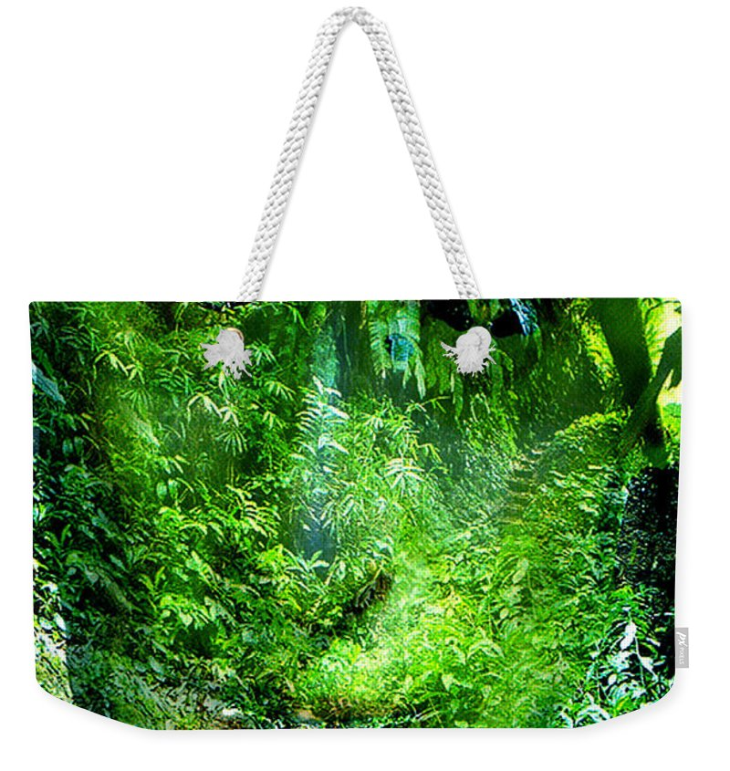 Nature Weekender Tote Bag featuring the digital art Green Man by Seth Weaver