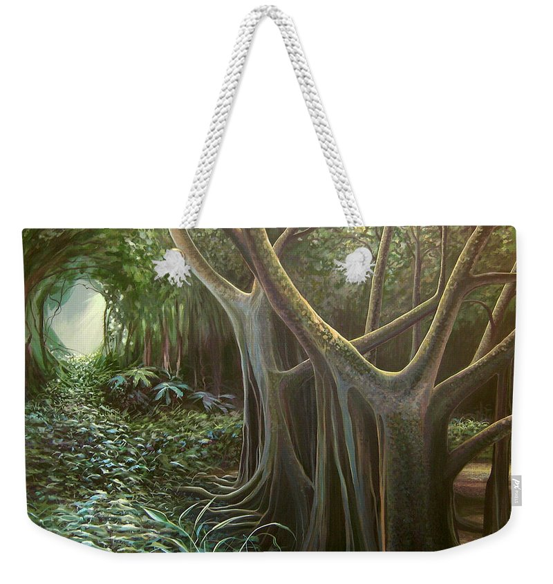 Barbados Weekender Tote Bag featuring the painting Green Mansions by Hunter Jay