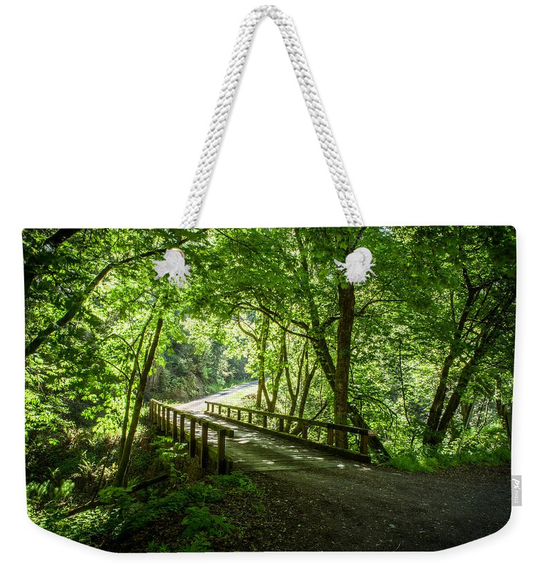 Nature Weekender Tote Bag featuring the photograph Green Nature Bridge by Bryant Coffey