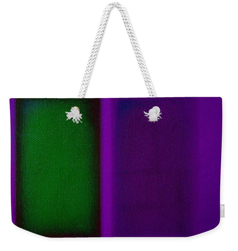 Rothko Weekender Tote Bag featuring the painting Green On Magenta by Charles Stuart