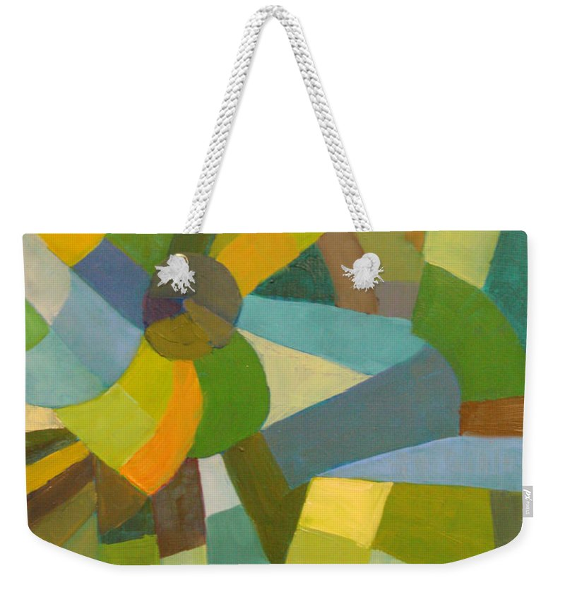 Green Weekender Tote Bag featuring the painting Green Pallette by Art Nomad Sandra Hansen