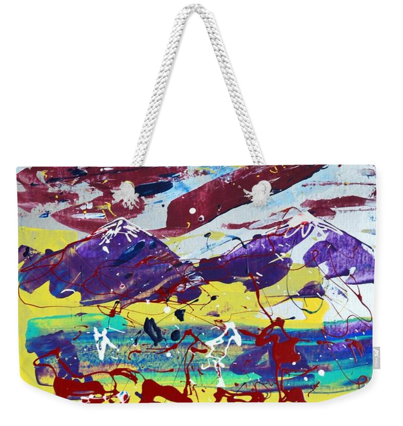 Horses Grazing Weekender Tote Bag featuring the painting Green Pastures And Purple Mountains by J R Seymour