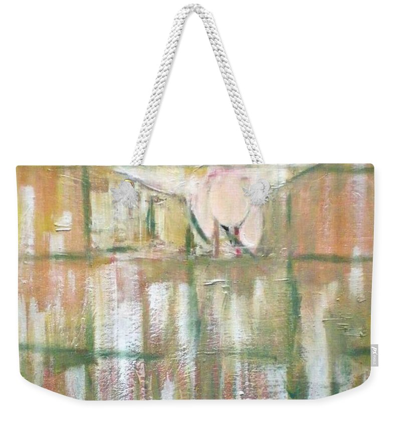 Birds Weekender Tote Bag featuring the painting Green Peace by Philip Okoro