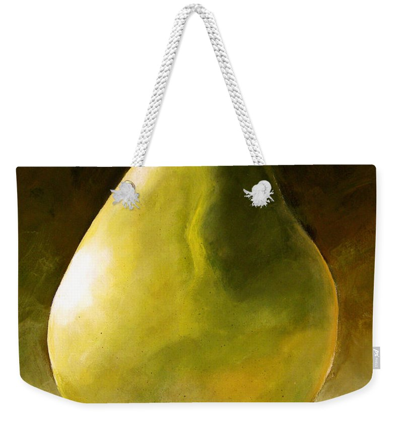 Green Weekender Tote Bag featuring the painting Green Pear by Toni Grote