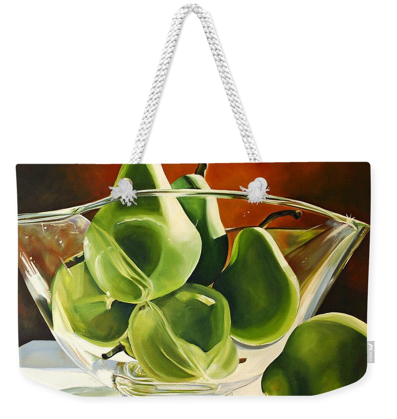 Pear Weekender Tote Bag featuring the painting Green Pears In Glass Bowl by Toni Grote