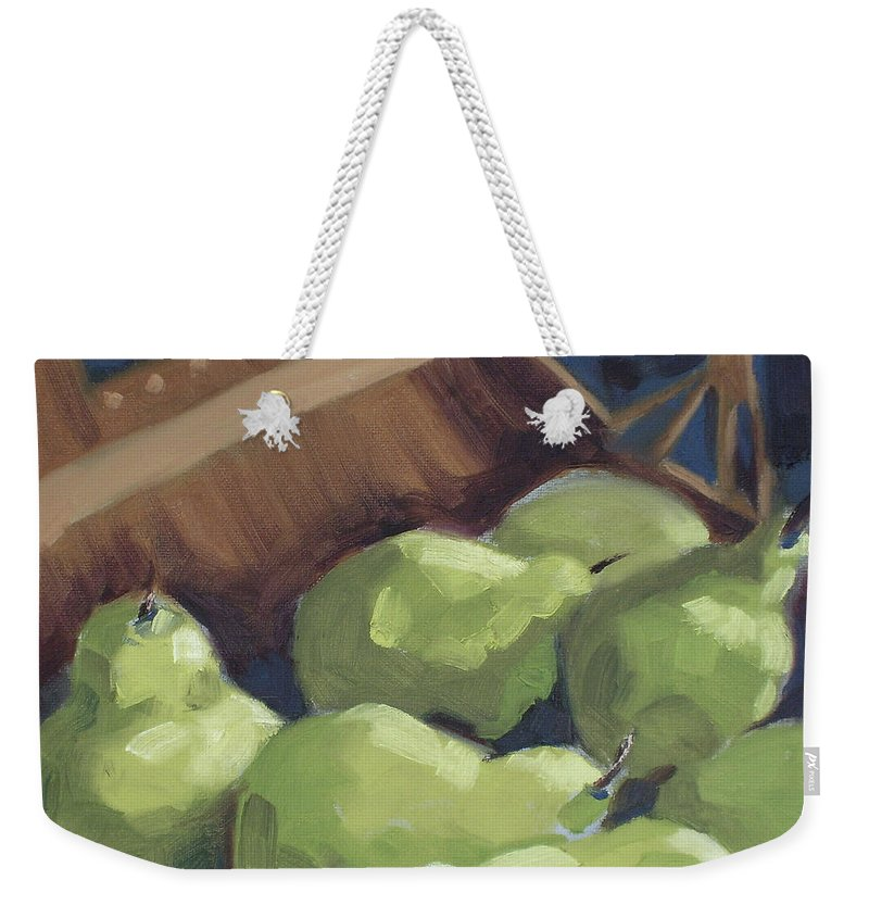 Pears Weekender Tote Bag featuring the painting Green Pears by Lewis Bowman