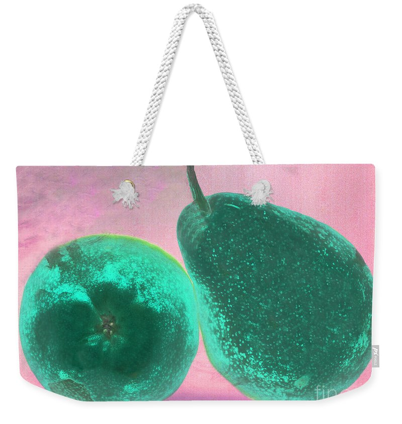 Pear Pair Pink Green Stem Skin Tilt Weekender Tote Bag featuring the photograph Green Pears On Pink by Heather Kirk
