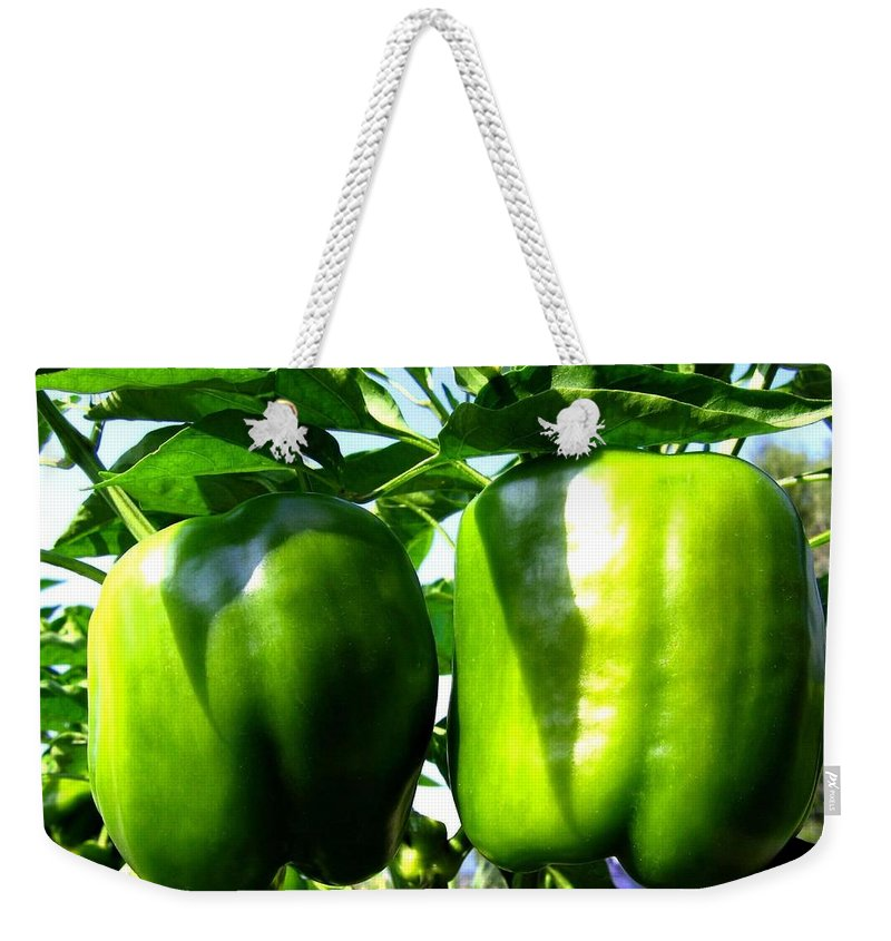 Green Peppers Weekender Tote Bag featuring the photograph Green Peppers by Will Borden