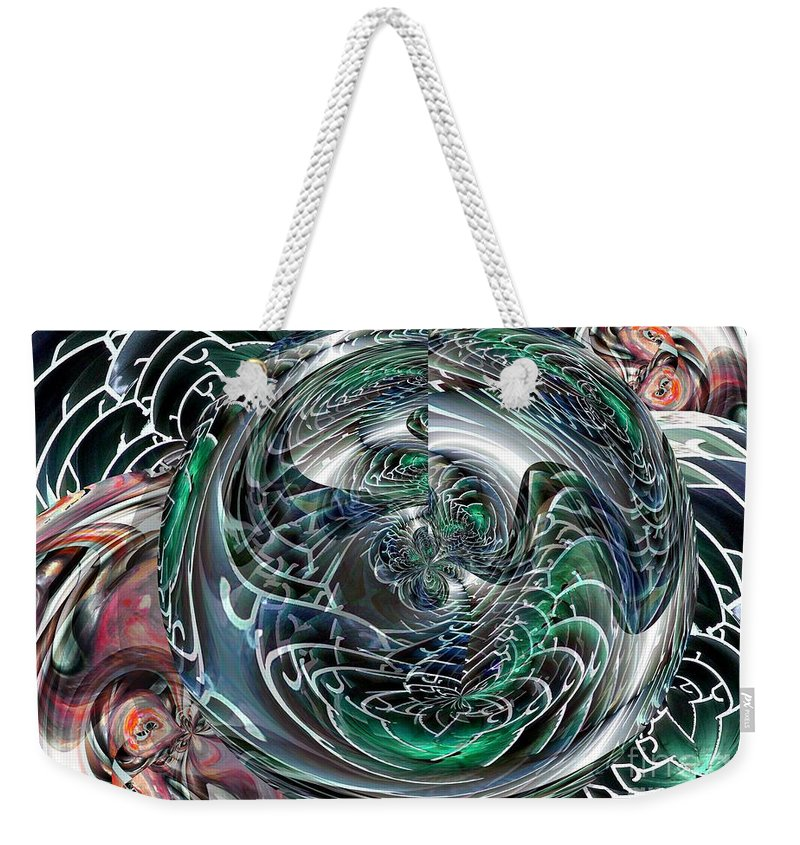 Green Weekender Tote Bag featuring the digital art Green Planet by Ron Bissett