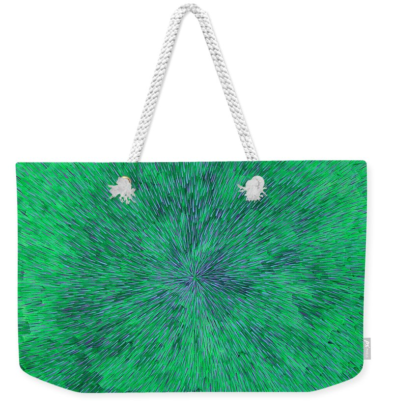 Abstract Weekender Tote Bag featuring the painting Green Radation With Violet by Dean Triolo
