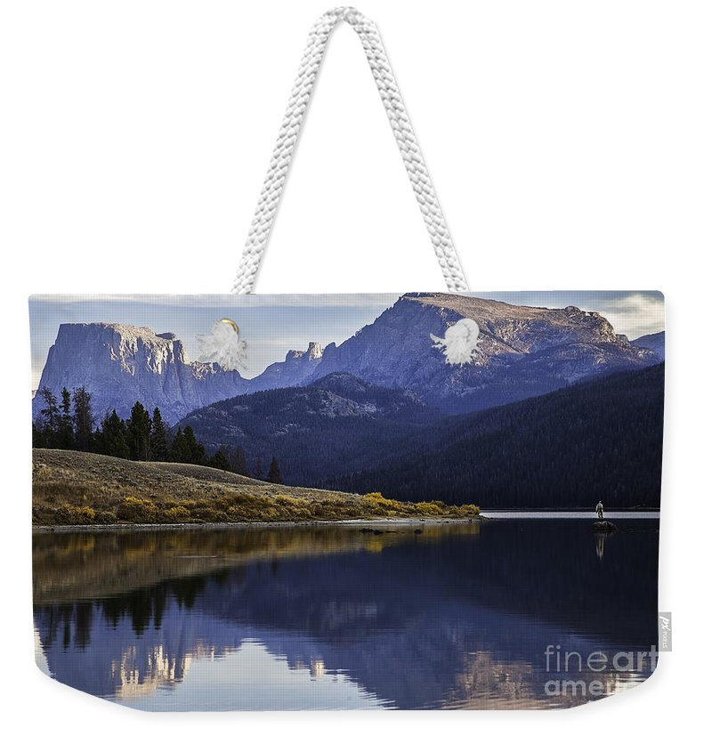Fly-fisherman Weekender Tote Bag featuring the photograph Green River Lake Fly-fisherman by Daryl L Hunter
