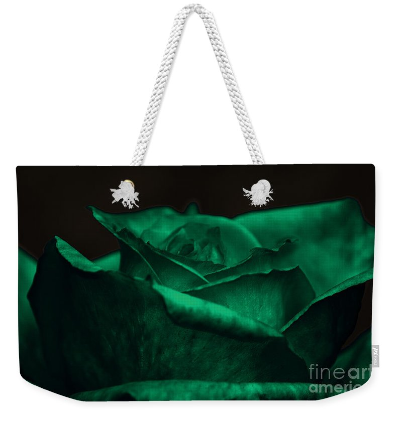 Clay Weekender Tote Bag featuring the photograph Green Rose by Clayton Bruster