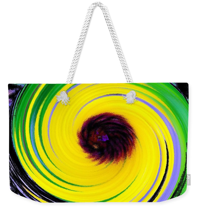 Abstract Weekender Tote Bag featuring the digital art Green Rush by Ian MacDonald