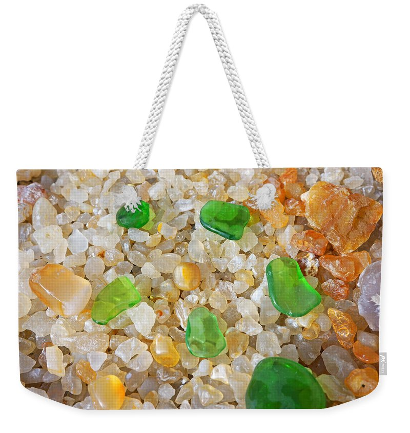 Sea Shells Weekender Tote Bag featuring the photograph Green Sea Glass Art Prints Agates Seaglass by Patti Baslee