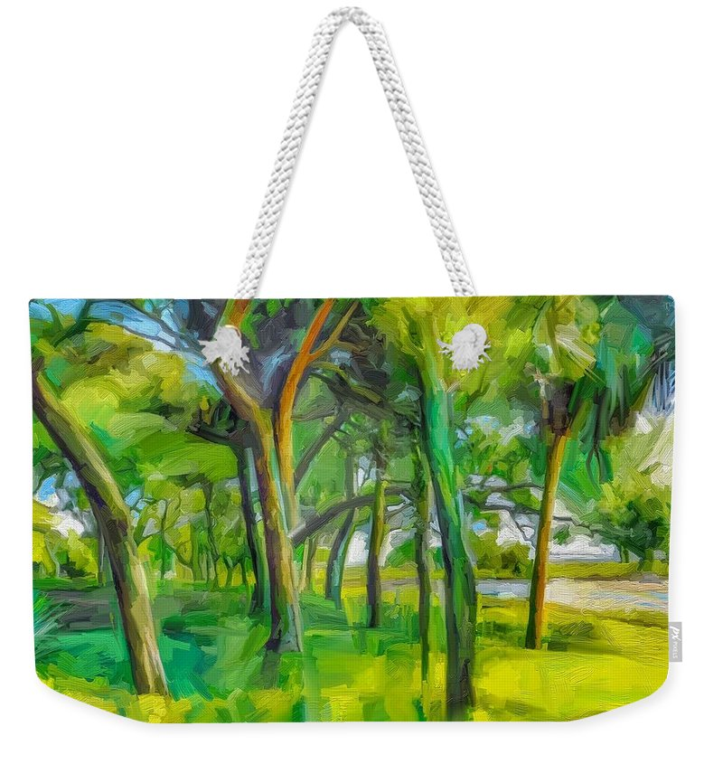 Green Shore Trees Landscape Florida Trees Weekender Tote Bag featuring the digital art Green Shore Trees by Scott Waters