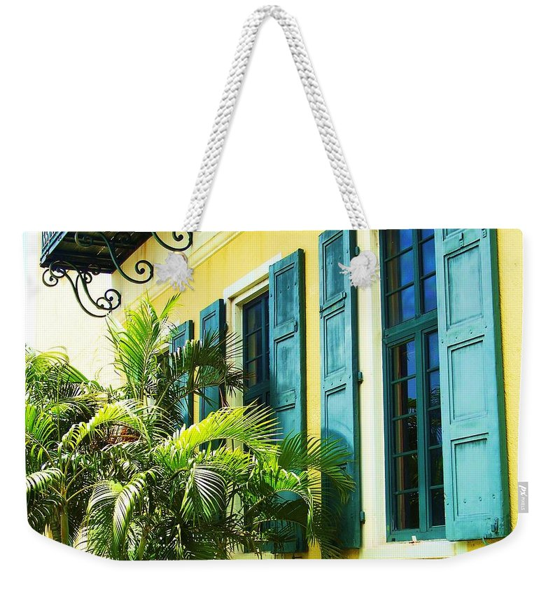 Architecture Weekender Tote Bag featuring the photograph Green Shutters by Debbi Granruth