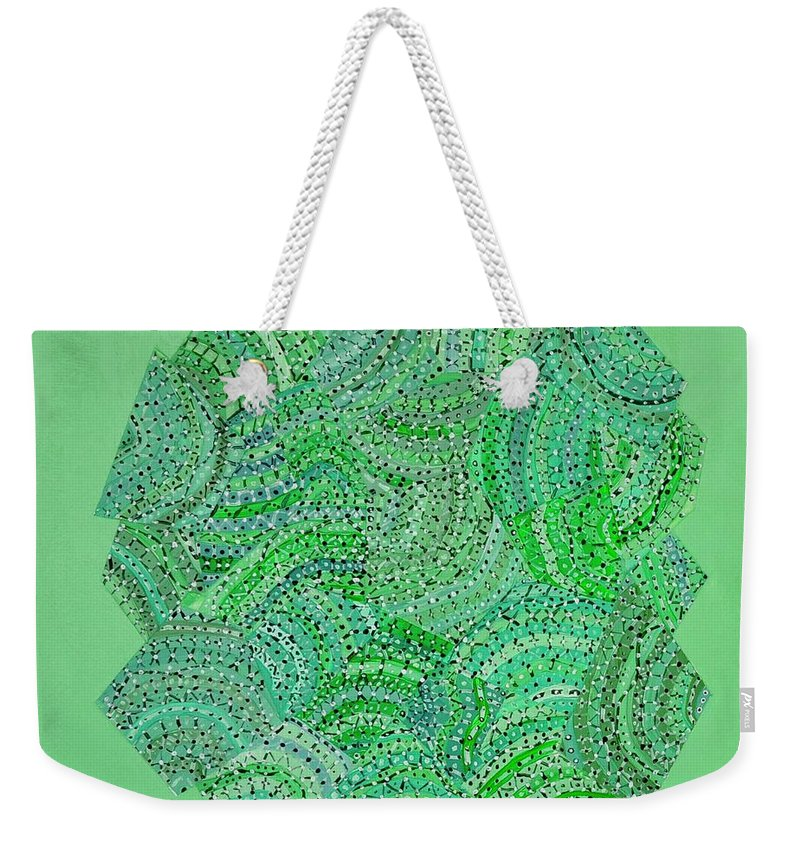 Abstract Weekender Tote Bag featuring the painting Green Spiral by Roger Kipp