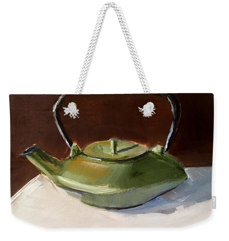 Green Weekender Tote Bag featuring the painting Green Tea Kettle by Gary Bruton