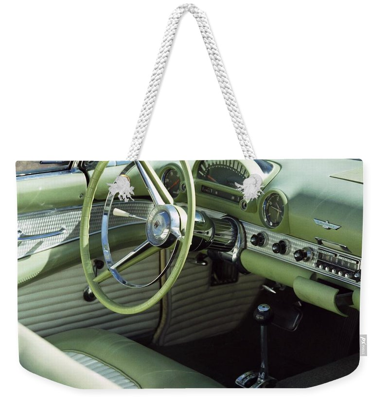 Photography Weekender Tote Bag featuring the photograph Green Thunderbird Wheel And Front Seat by Heather Kirk