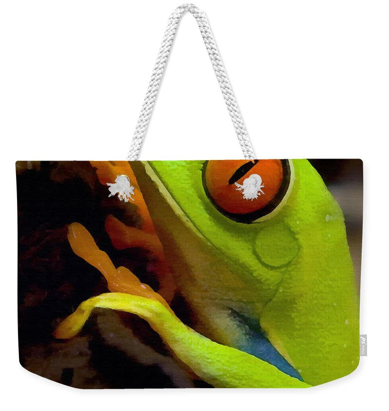 Frog Weekender Tote Bag featuring the photograph Green Tree Frog by Sharon Foster