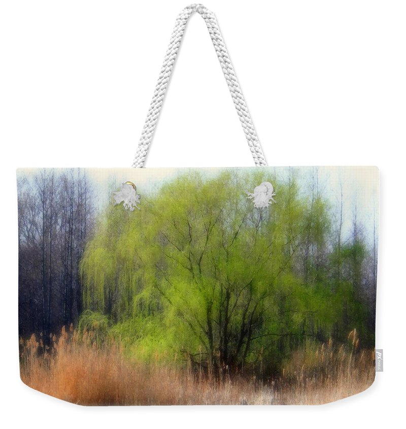 Scenic Art Weekender Tote Bag featuring the photograph Green Tree by Linda Sannuti