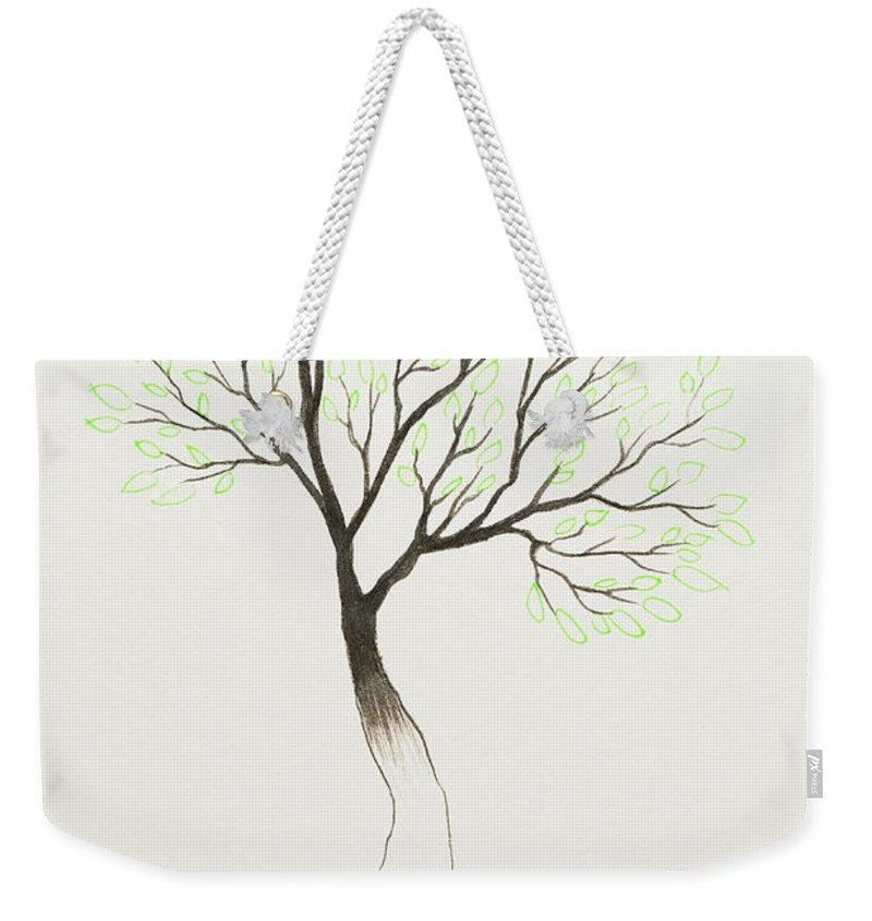 Tree Weekender Tote Bag featuring the painting Green Tree by Stefanie Forck