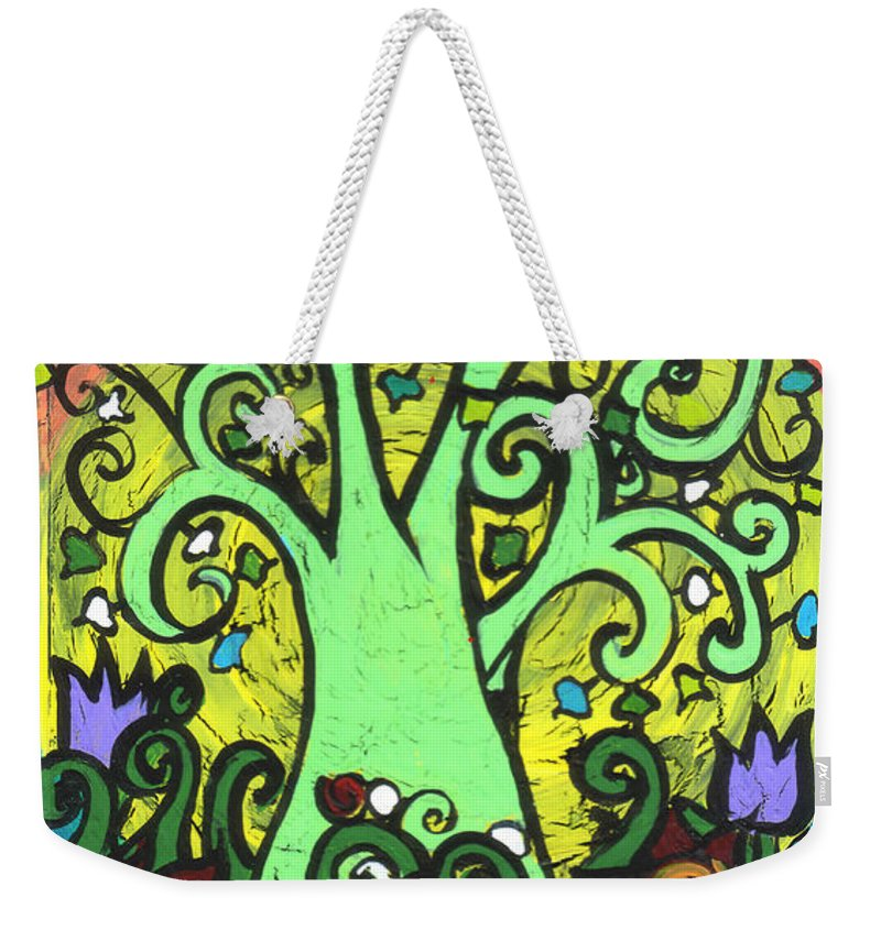 Tree Weekender Tote Bag featuring the painting Green Tree With Purple Tulips by Genevieve Esson