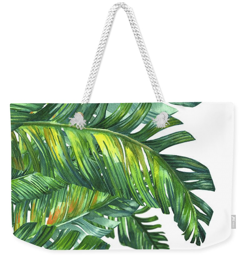 Summer Weekender Tote Bag featuring the digital art Green Tropic by Mark Ashkenazi