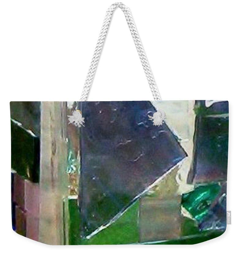 Vase Weekender Tote Bag featuring the glass art Green Vase by Jamie Frier