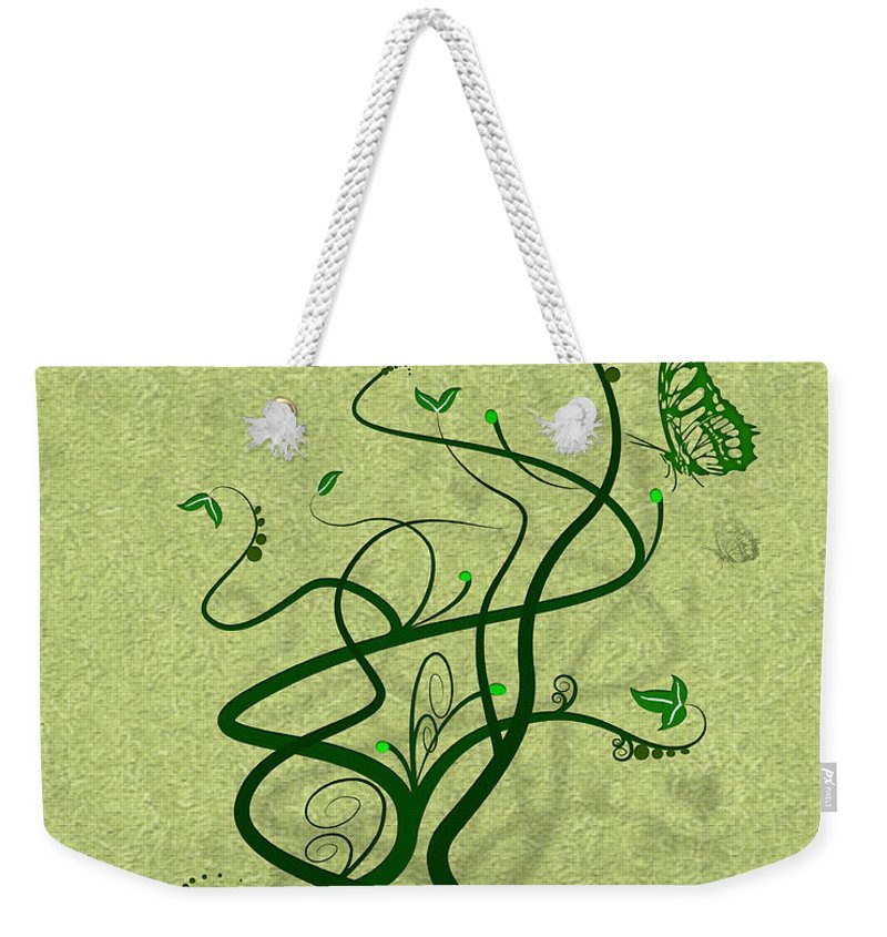 Vine Weekender Tote Bag featuring the digital art Green Vine And Butterfly by Svetlana Sewell