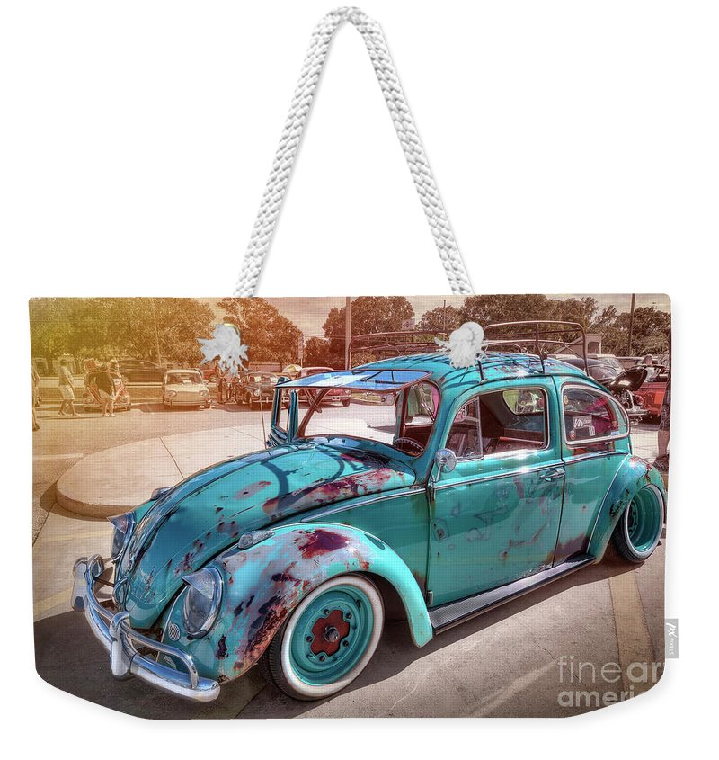 Green Vw Weekender Tote Bag featuring the photograph Green Vw by David B Kawchak Custom Classic Photography
