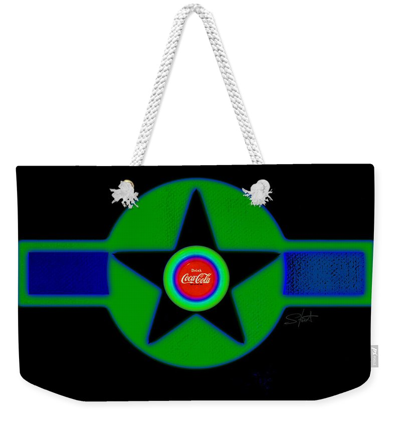 Usaaf Weekender Tote Bag featuring the painting Green With Blue by Charles Stuart