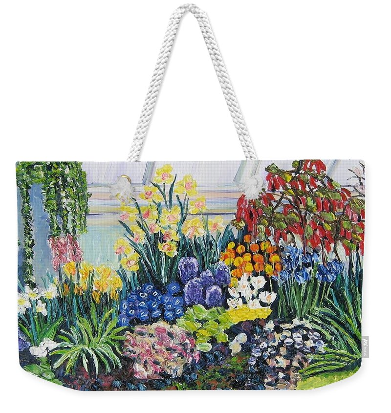 Flowers Weekender Tote Bag featuring the painting Greenhouse Flowers With Blue And Red by Richard Nowak